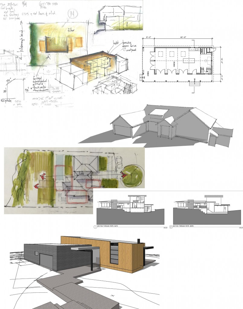 Sketches, scaled drawings and 3d models help clients visualize ideas during this stage