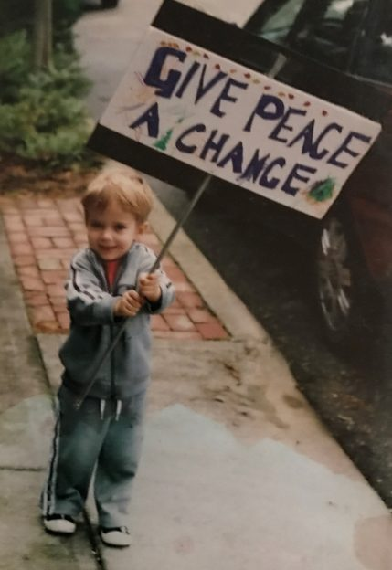 My oldest son, Nick, on our way to protest the Iraq War in San Francisco in 2003